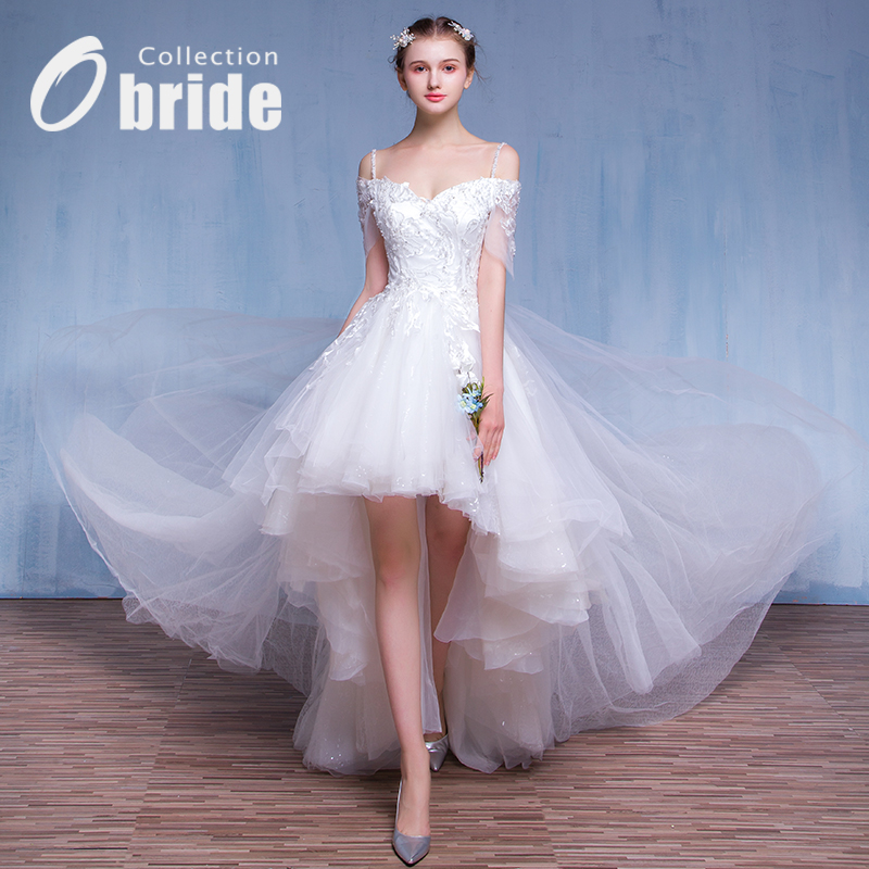 New spring wedding dress trailing detachable two wear Obride2016 hanging with a short section of the bride wedding dress out of yarn