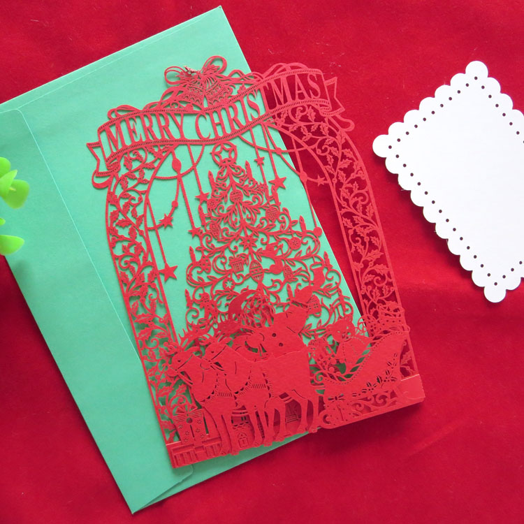 New style ~ three-dimensional laser paper cut card card/red christmas christmas cards Y-9530905