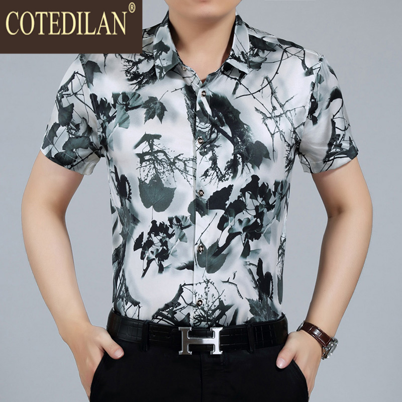 New summer men's COTEDYLAN2016 chinese ink painting style printed silk short sleeve shirts