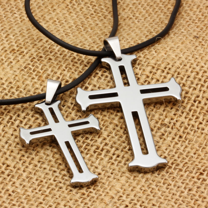 New tungsten gold couple necklace emanuel christian bible cross pendant men men korean fashion atmosphere