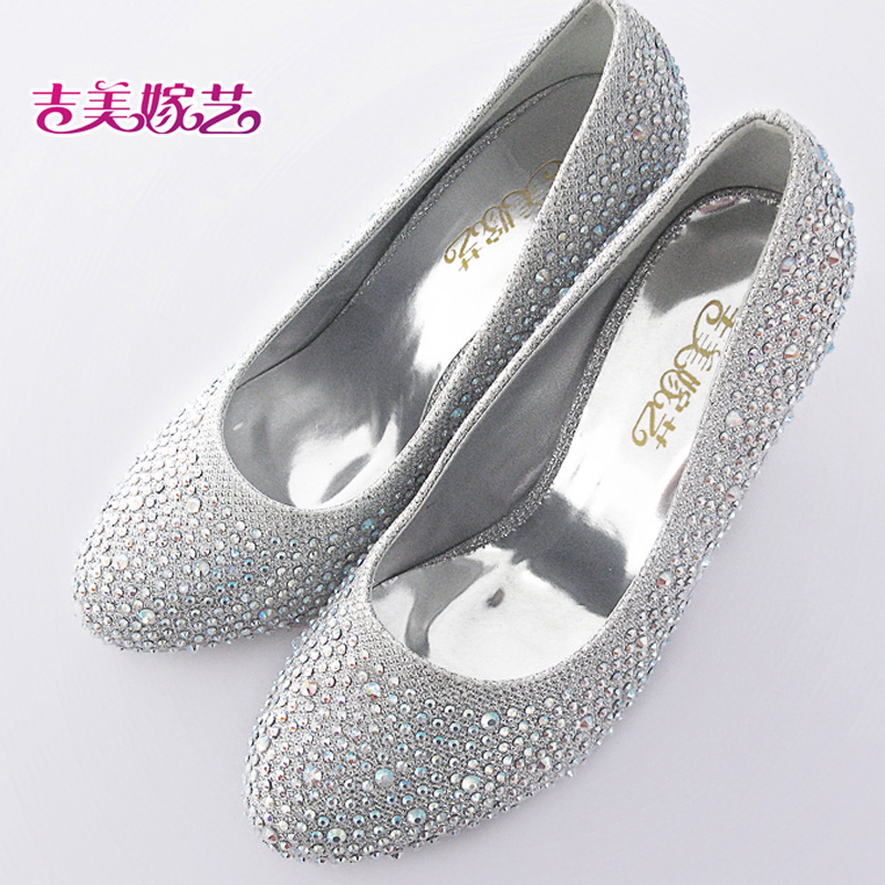 New wedding shoes wedding shoes bridal shoes silver high heels shoes 0376 korean version of the new female wedding shoes