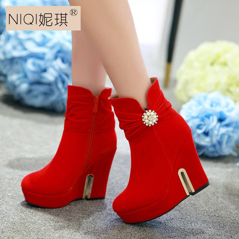New winter wedding red boots winter boots slope with high heels red shoes wedding bridal shoes wedding shoes red boots