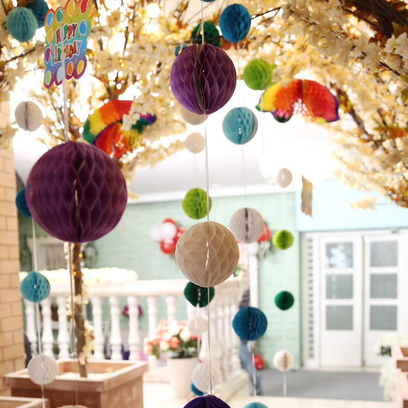 New year's day wedding wedding supplies paper honeycomb ball flower string balls arranged marriage room garland holiday party party decoration