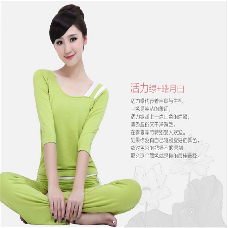 New yoga clothes suit sleeve yoga clothes yoga clothing spring and summer fashion slim round neck suit yoga clothes and yoga clothes