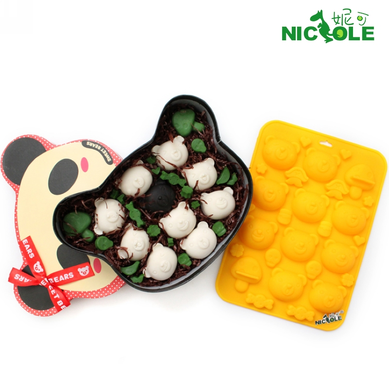 Nicole diy baking chocolate mold silicone cute bear cake mold ice jelly mold soap mold