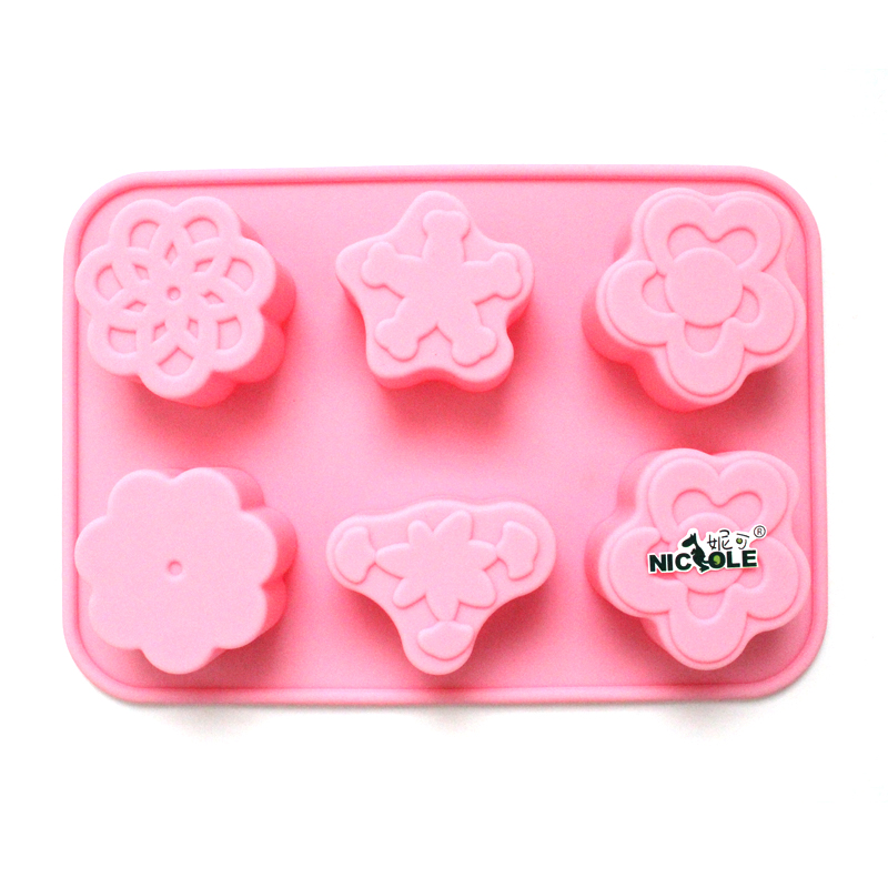 Nicole diy baking chocolate tart mold 6 holes even flowers silicone mold soap mold cake mold oven available