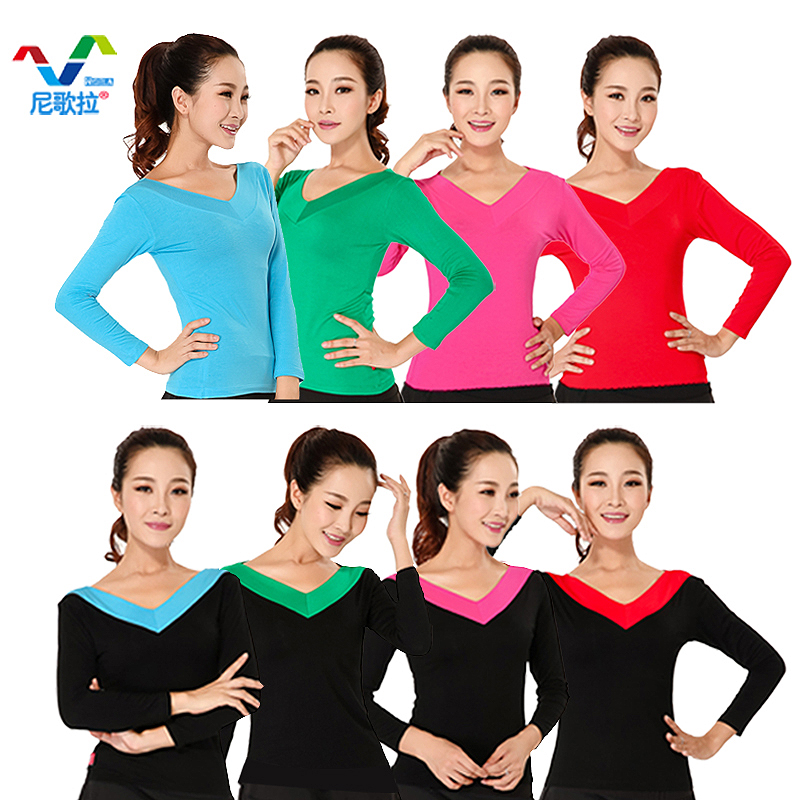Nigerian song pull new square dance clothing long sleeve v-neck t-shirt dance clothes dance pull ding dance practice female autumn