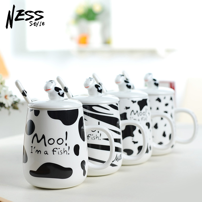 Nijs large capacity cute cows breakfast cup ceramic cup mug cup office cups milk cows lid with spoon