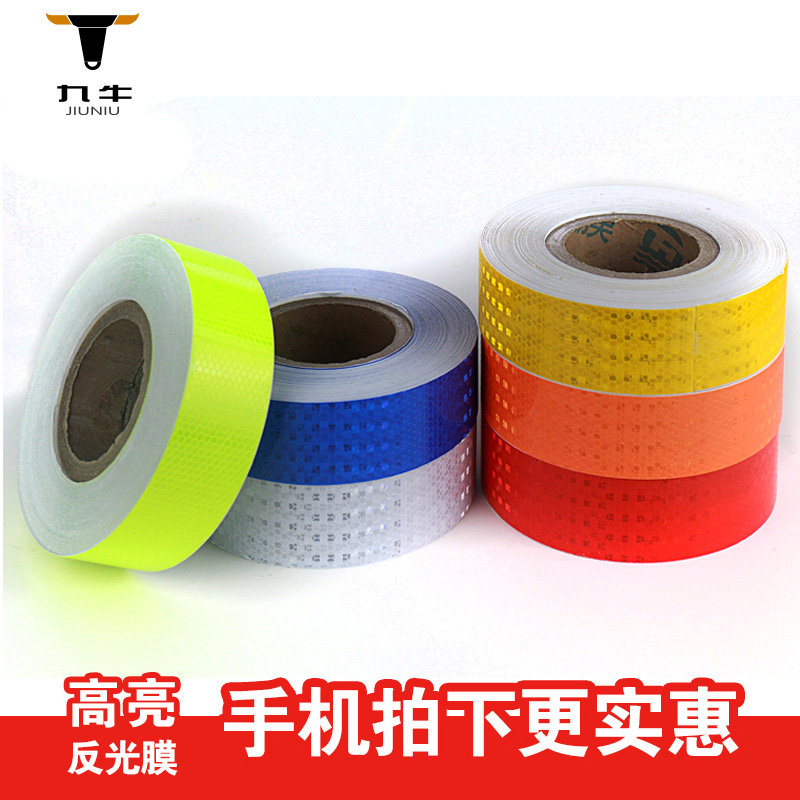 Nine cattle crystal lattice reflective film reflective stickers reflective tape warning tape luminous tape high strength fluorescent stickers car stickers