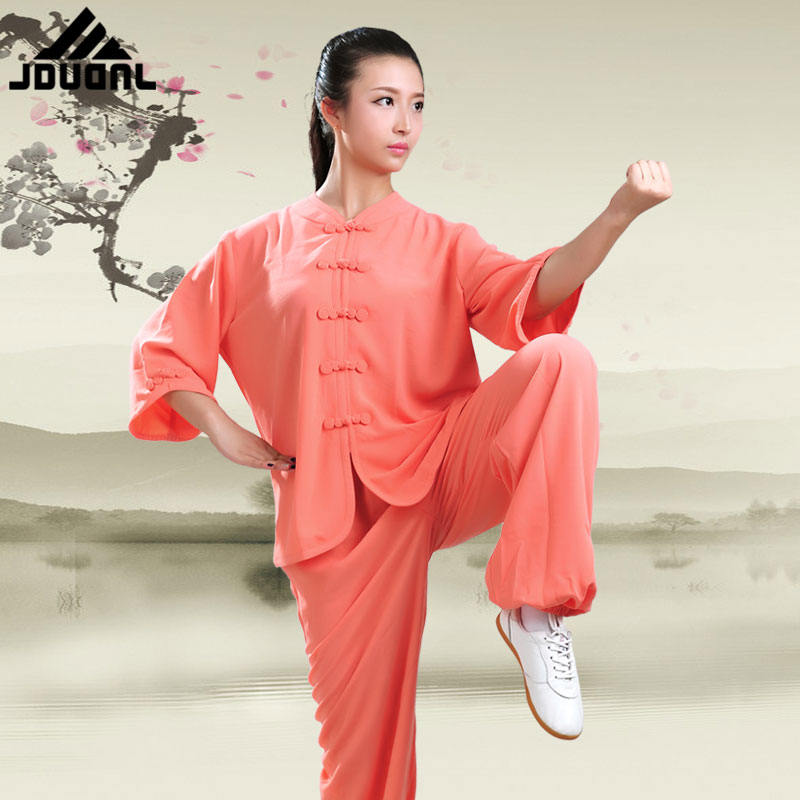 Nine段龙morning tai chi clothing spring and summer women's seven points short sleeve dress clothes and martial arts performance clothing tai chi clothing