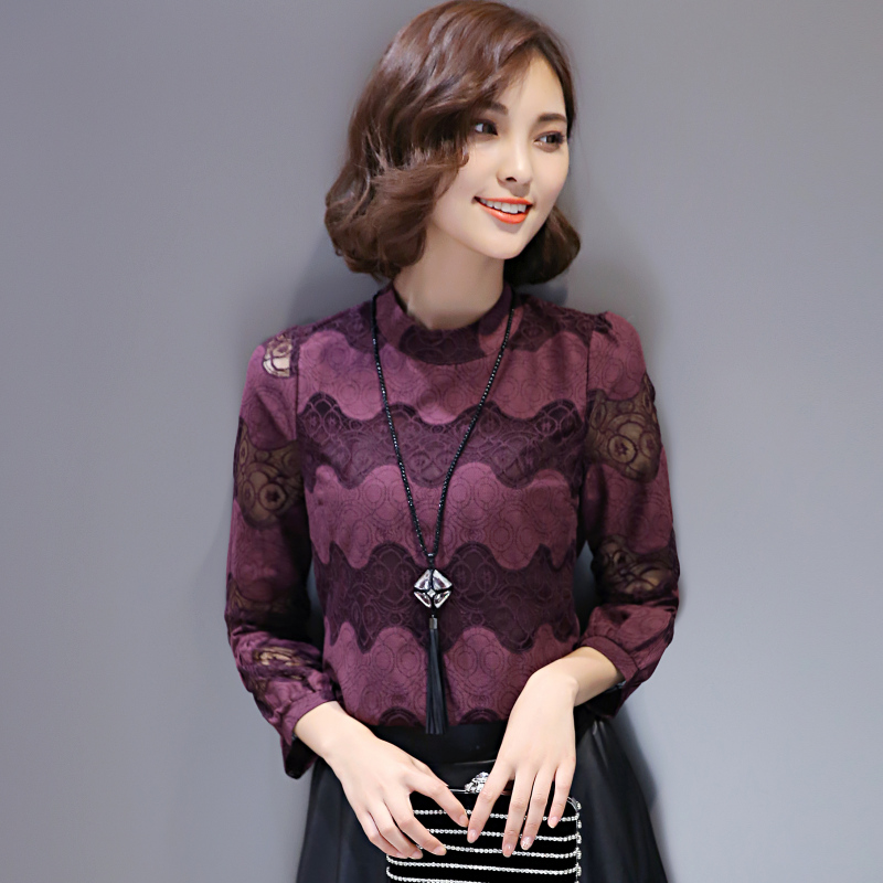 Nine points sleeve and a half high collar lace shirt female 2016 new autumn and winter fashion hollow lace shirt small shirt tide hit the bottom