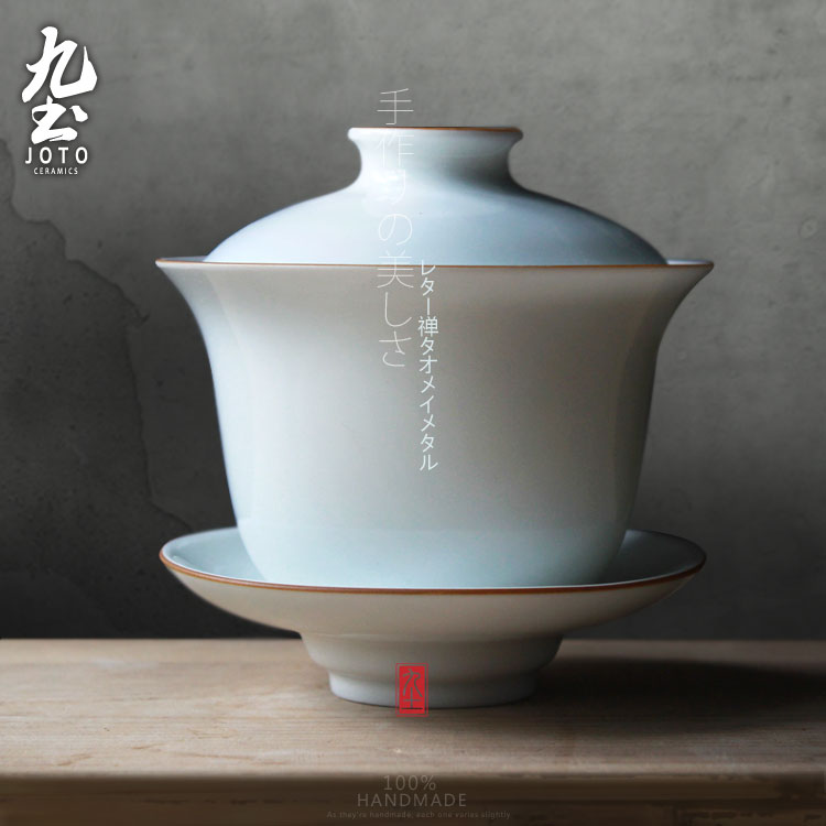 Nine soil sweet glaze tureen eggshell kung fu tea tea cup tureen with god king handmade cup jingdezhen handmade