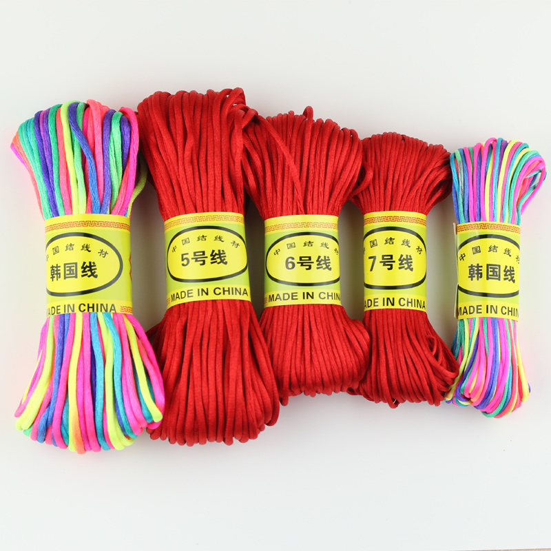No. 5 no. 6 no. 7 chinese knot bracelet braided wire rope wire rope 20 m diy jewelry with pieces of material Jade red string
