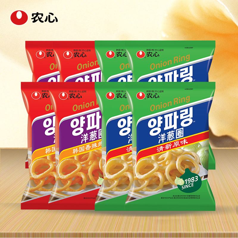 Nongshim onion rings puffed snack spicy onion rings 8 pack combination 70gX4 40gX crispy biscuits 4 bags bag Portfolio
