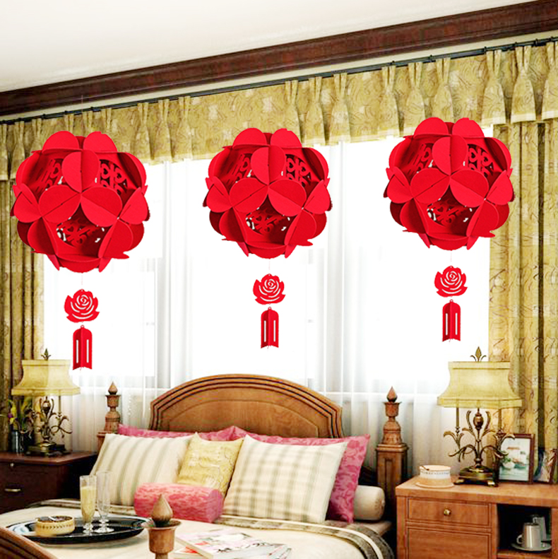 Nonwoven wedding ornaments pendant flannel hi word red hydrangea palace lanterns arranged marriage room decoration supplies