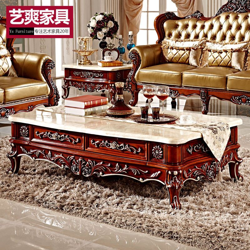 Nordic american country european plate wood marble coffee table kung fu tea table small apartment living room storage drawer