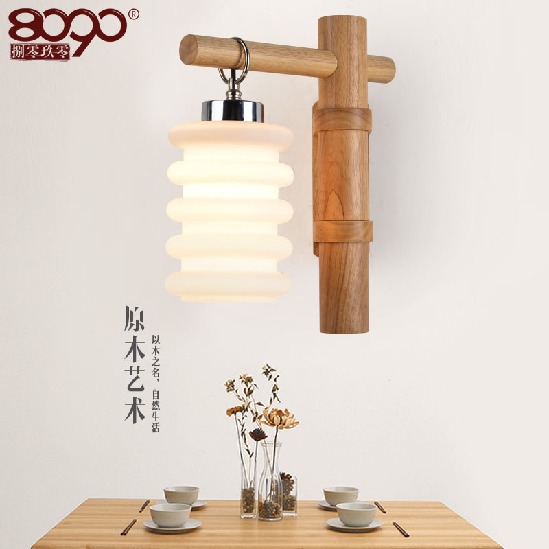 Nordic wood art wood rotating restaurant modern minimalist personality living room bedroom creative led bedside wall lamp