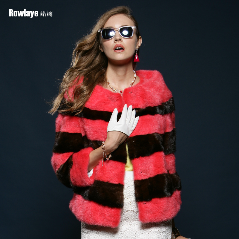 Novo lan striped hit color mink coat mink female models haining whole mink mink fur coat fur coat d053