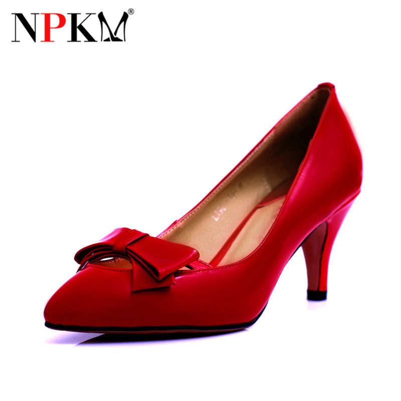 NPKM2016 ms. autumn new solid color leather pointed high heels shoes korean fashion bow shoes 4798