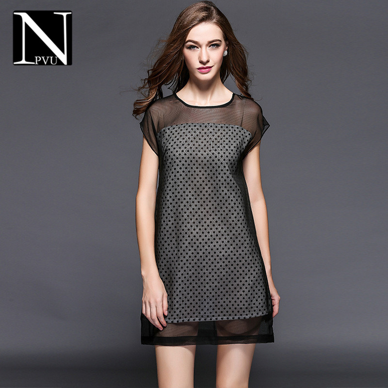 NPVU2016 comfortable in europe and america large size women new summer fashion slim was thin dress tide nets yarn 9997