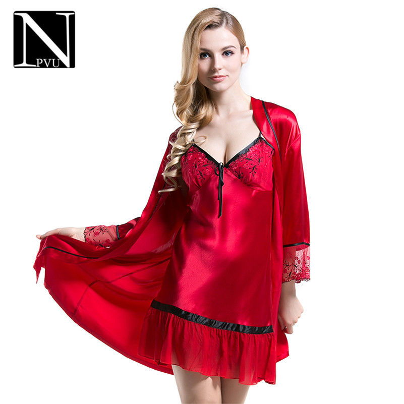 NPVU2016 new fashion silk pajamas sexy suspenders nightdress nightgown comfortable long sleeve thin female models 2291