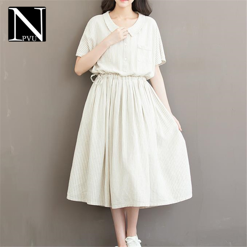 NPVU2016 new summer female fashion slim was thin sweet doll collar striped short sleeve dress tide 5594