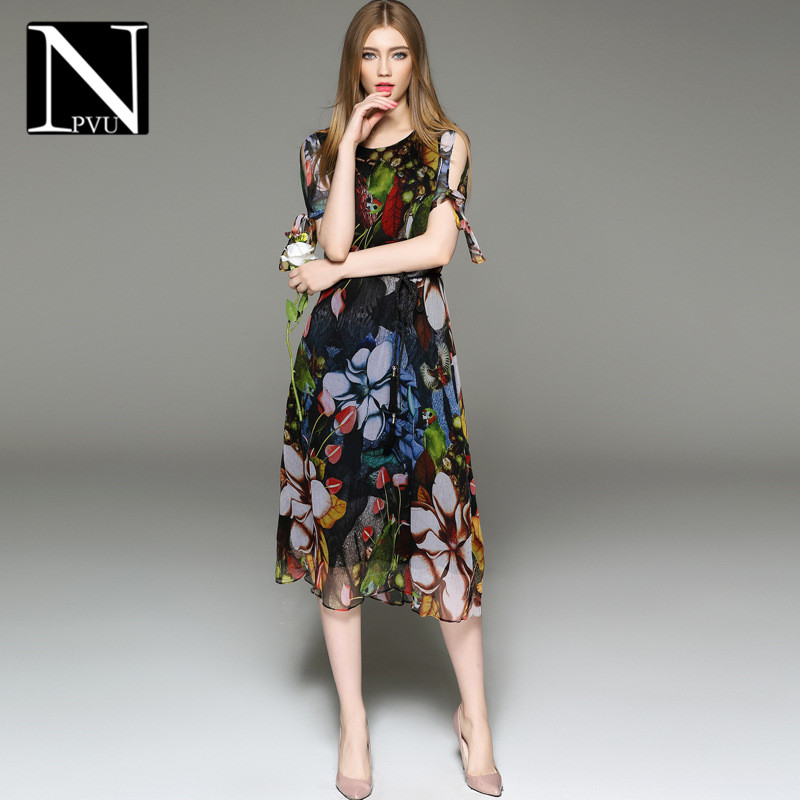 NPVU2016 summer european style slim was thin printing hedging female fashion dress big swing type dress 0837