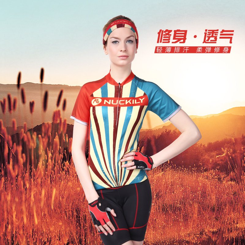 Nuckily mountain bike cycling summer slim short sleeve cycling jersey shirt female sunscreen breathable wicking outdoor