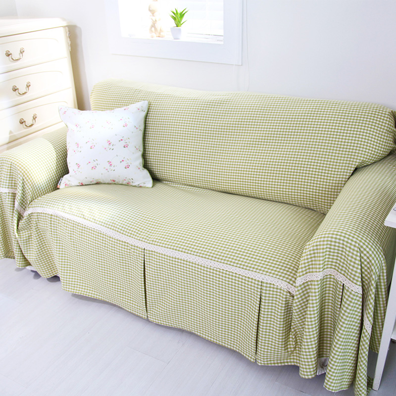 Nuomai di] barbie 【 fresh garden green plaid red cell cotton slipcover sofa towel full cover slip sofa cover