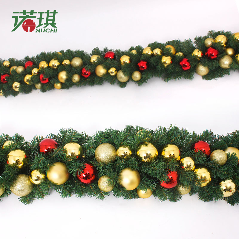 Nuoqi 270cm red and gold christmas balls christmas decorations 2.7 m christmas rattan cane rattan cane hotel door hanging door