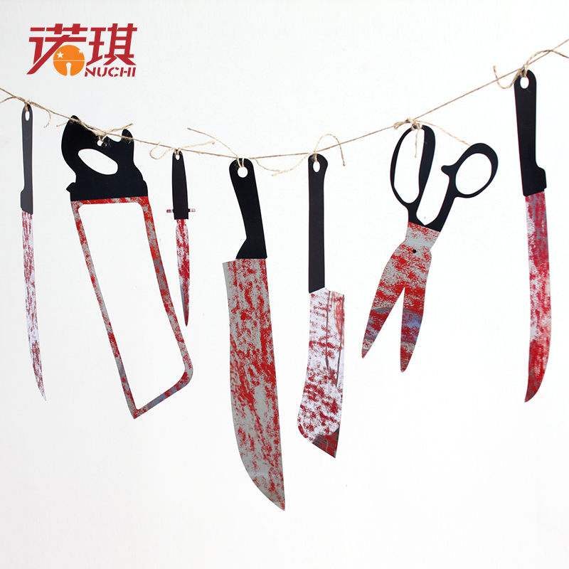 Nuoqi xuedao halloween garland brace pull the flag pennant string flag festival scene layout props halloween decorations