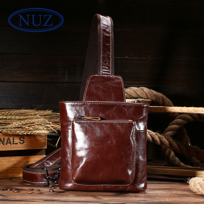 Nuz chest shoulder bag 2016 summer oil wax leather cowhide leather retro casual shoulder bag diagonal wave packet 9405