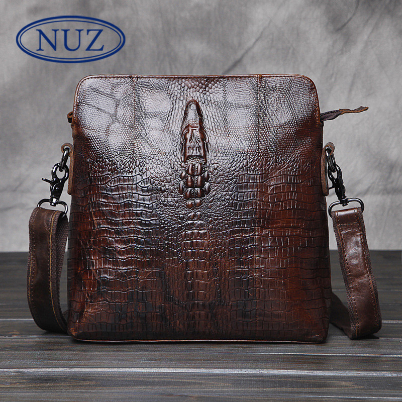 Nuz crocodile solid color men's first layer of leather man bag vertical section crazy horse leather shoulder bag messenger bag leisure 1655