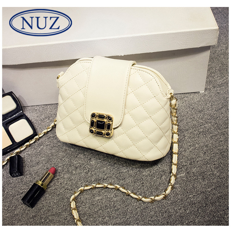 Nuz solid ms. lingge chain bag trumpet shell type european style fashion handbags shoulder bag zipper 0237