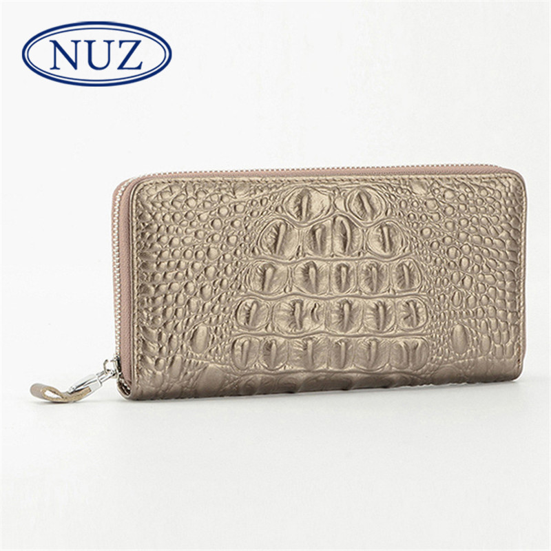 NUZ2016 new men's first layer of leather crocodile pattern leather clutch wallet european and american fashion solid color bag 2691