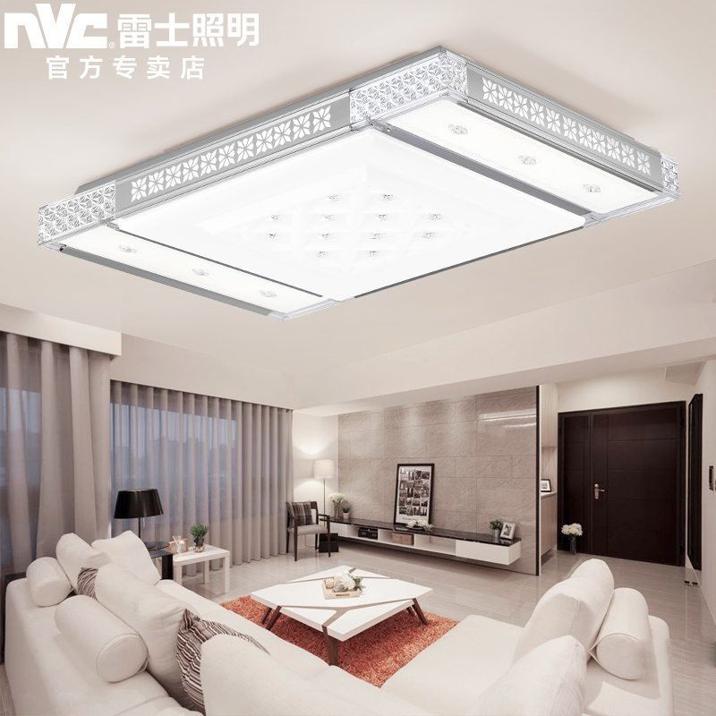 Nvc lighting led ceiling lights remote control cozy atmosphere rectangular living room lamp crystal lamp modern minimalist lighting