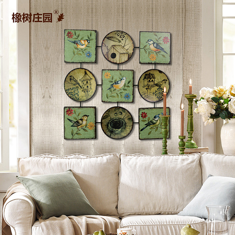 Oak manor american pastoral living room creative wrought iron decorative wall painting decorative plate decorative wall hangings wall hangings painted birds and flowers