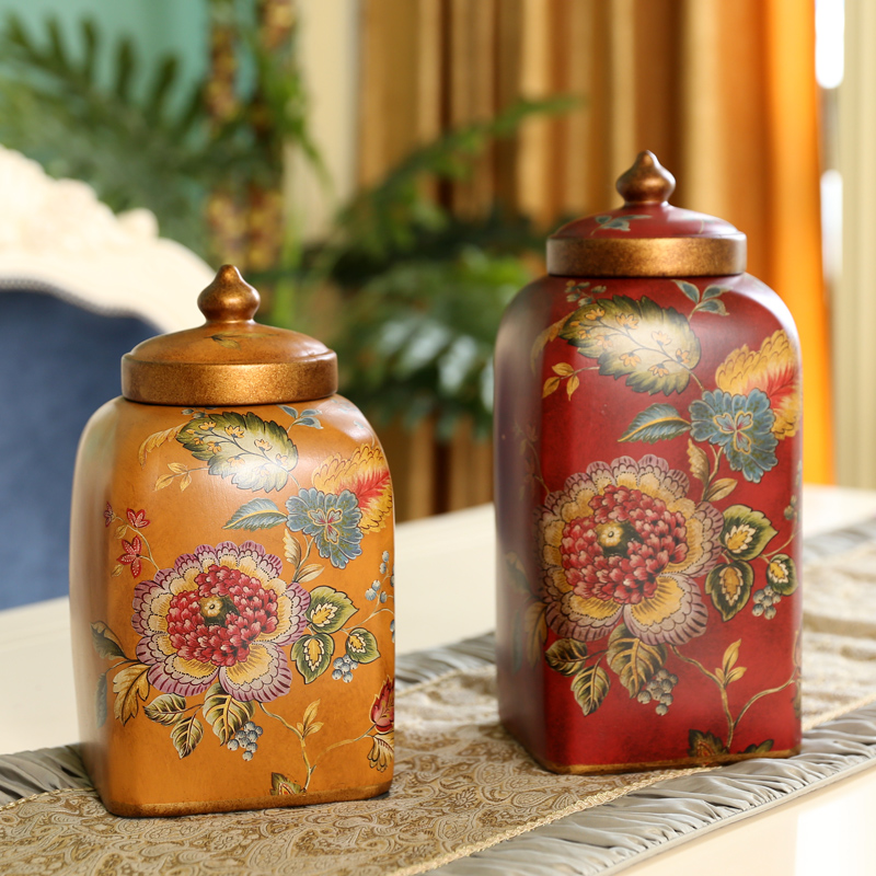 Oak manor american pastoral storage tank ornaments creative home retro painted fine ceramic art furnishings