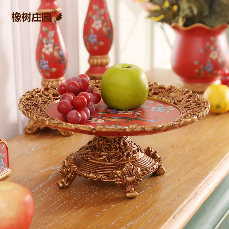 Oak manor european classical palace baroque tall fruit plate ornaments festive home soft furnishings