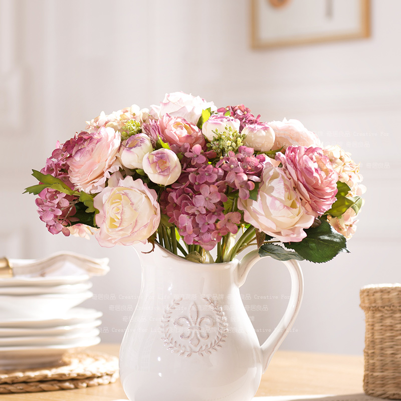 Odd ranks yield living room simulation floral silk flower artificial flowers with pink and purple hydrangea bouquet of single beam lu lin