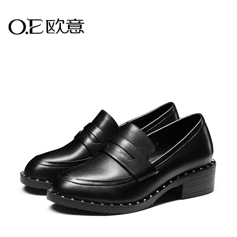 Oe europa 2016 autumn new european style rivet punk round in the rough with casual women's singles shoes