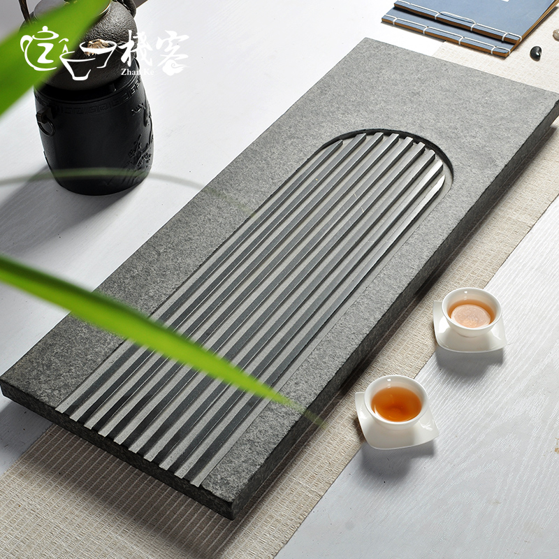 Off the stack ukrainian natural stone stone tea tray stone black stone tea tray kung fu tea drainage tea sets tea sea song tea blending