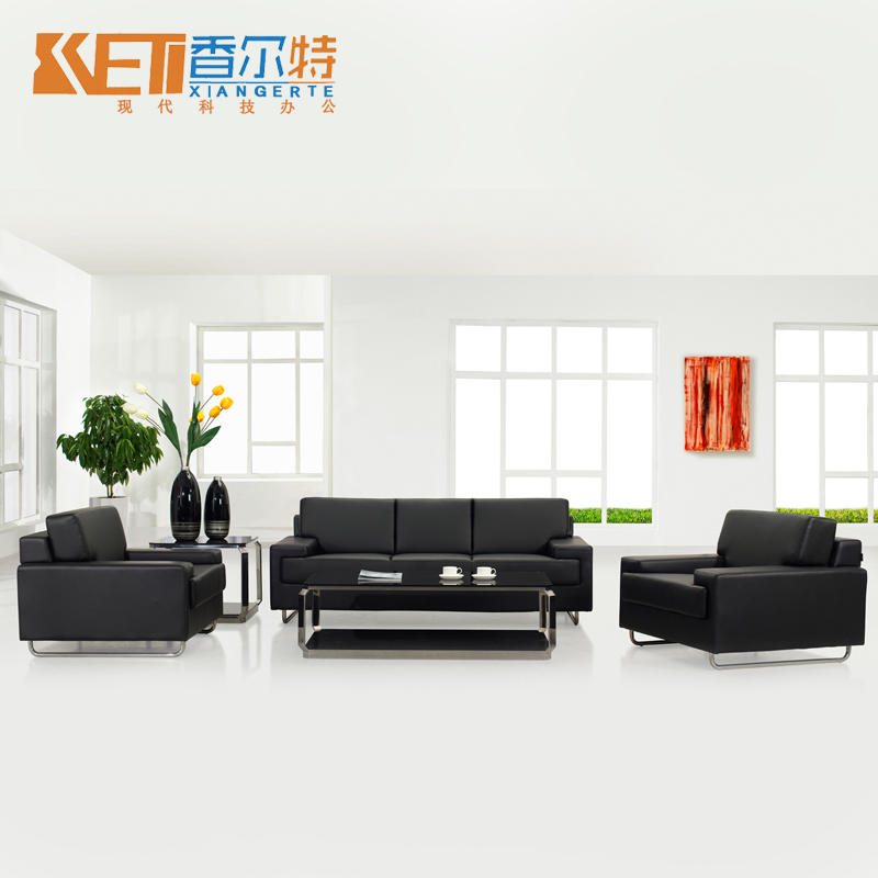Office furniture office sofa modern minimalist fashion casual leather office sofa table combination reception area