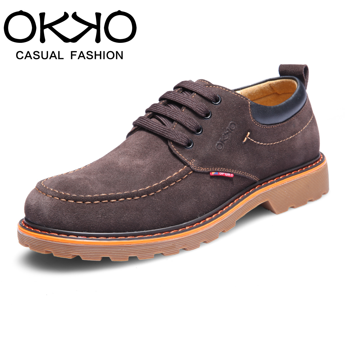 Okko men's casual leather men's shoes tide lace shoes british style trend of casual leather shoes breathable shoes autumn