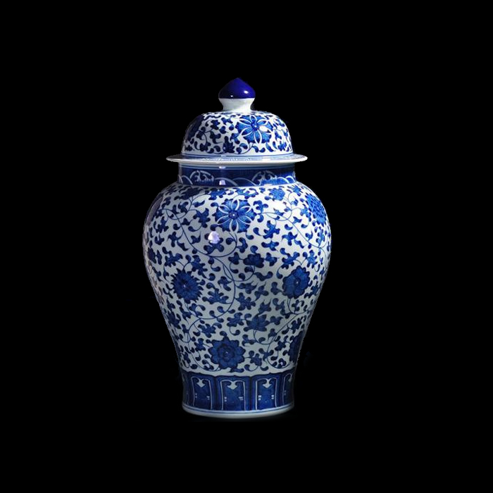 Old antique blue and white porcelain jar general ceramic ornaments living room painted jingdezhen ceramic flower vase is home decorations