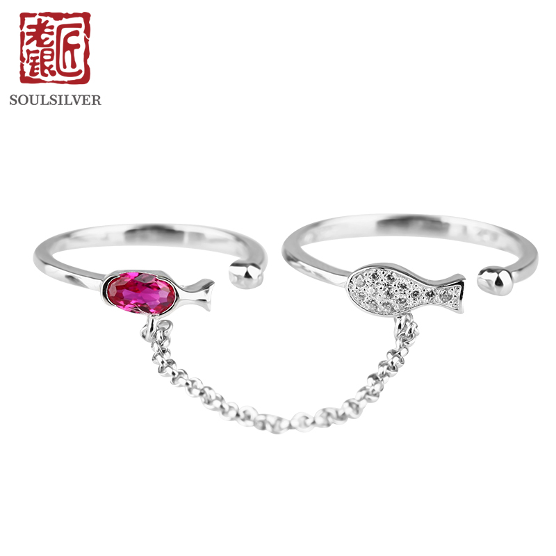 Old silversmith s925 sterling silver rings female breadwinner double finger tanabata festival fashion imitation ruby female silver ring child Japan and south korea