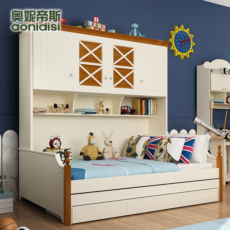 Olive otis bed single bed children's wardrobe trailer bed with a combination of solid wood storage bed bunk bed picture bed boys and girls