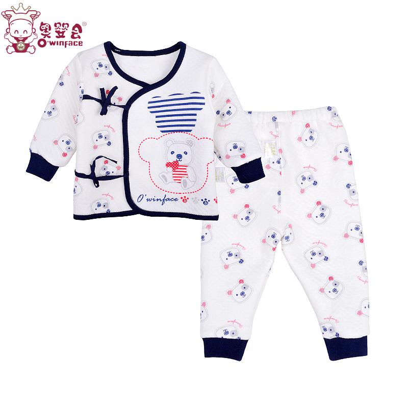 Olympic infant baby thermal underwear sets newborn baby clothes baby spring and winter thick cotton lace underwear