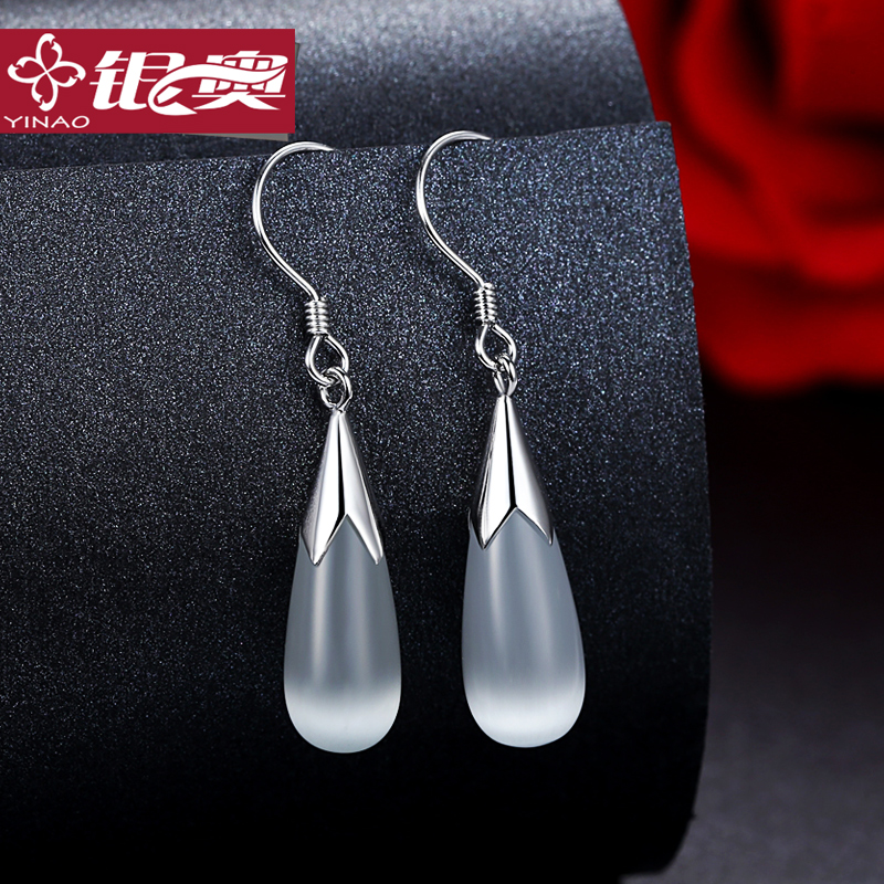 Olympic silver s925 silver opal earrings earrings female korean temperament fashion earrings sweet and lovely jewelry japan and south korea