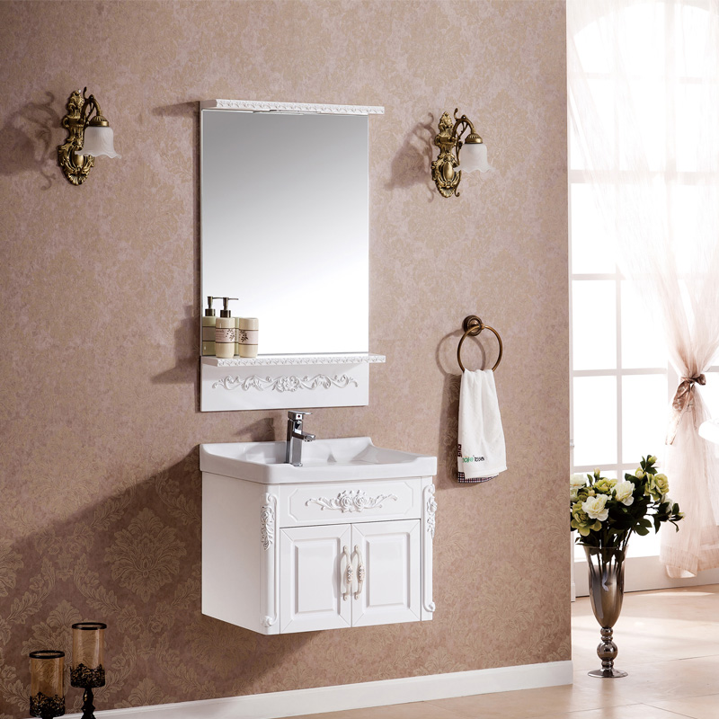 One of luda new solid wood bathroom cabinet european antique bathroom vanity vanity pvc bathroom washbasin cabinet portfolio